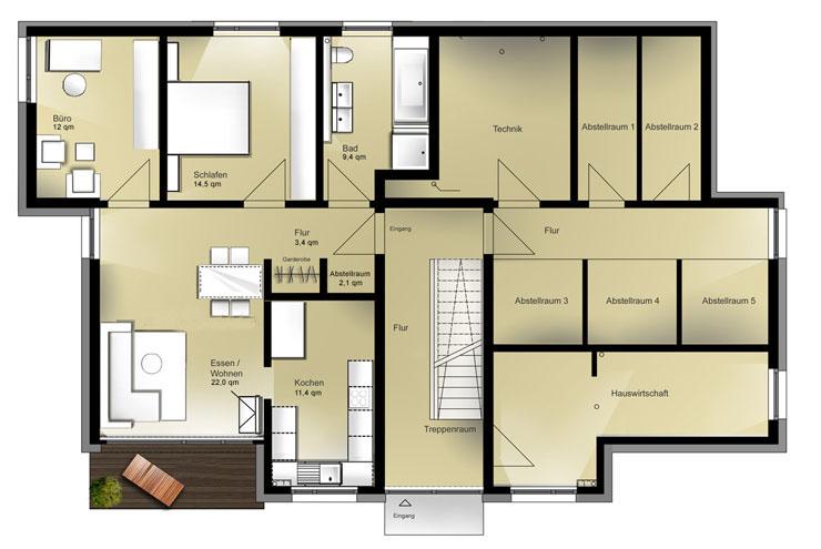 wohnung 3 zimmer wohnzimmer. Black Bedroom Furniture Sets. Home Design Ideas
